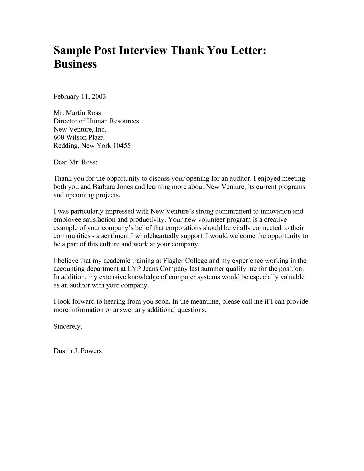 Format Of A Thank You Letter To A Business Copy Examples Business