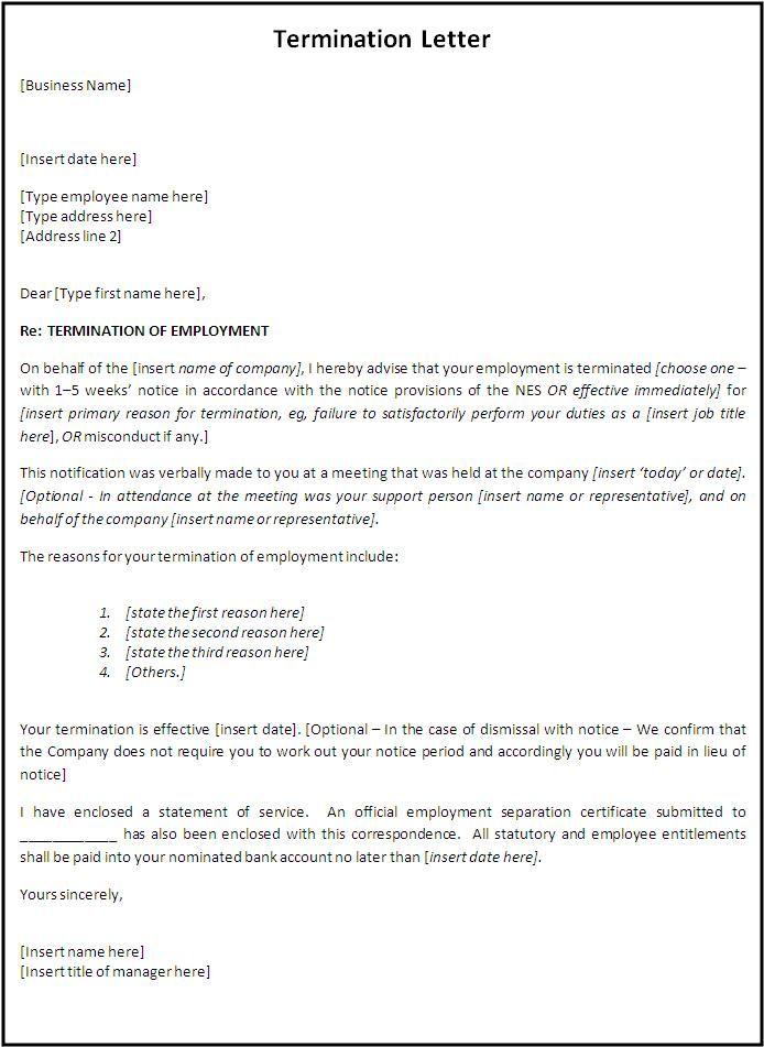 Free Employment Termination Letter Word Template Sample : Vatansun