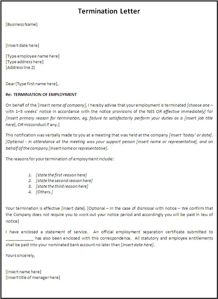 letter of termination of employment sample