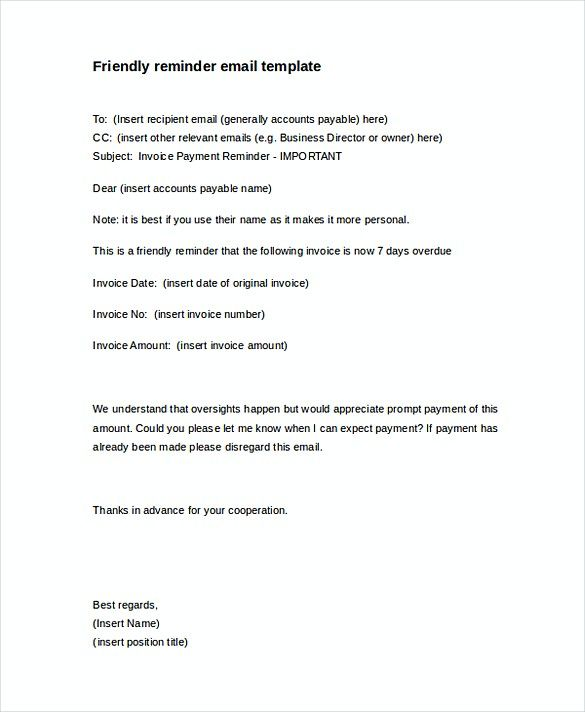 Friendly Payment Reminder Letter , Invoice Reminder Template
