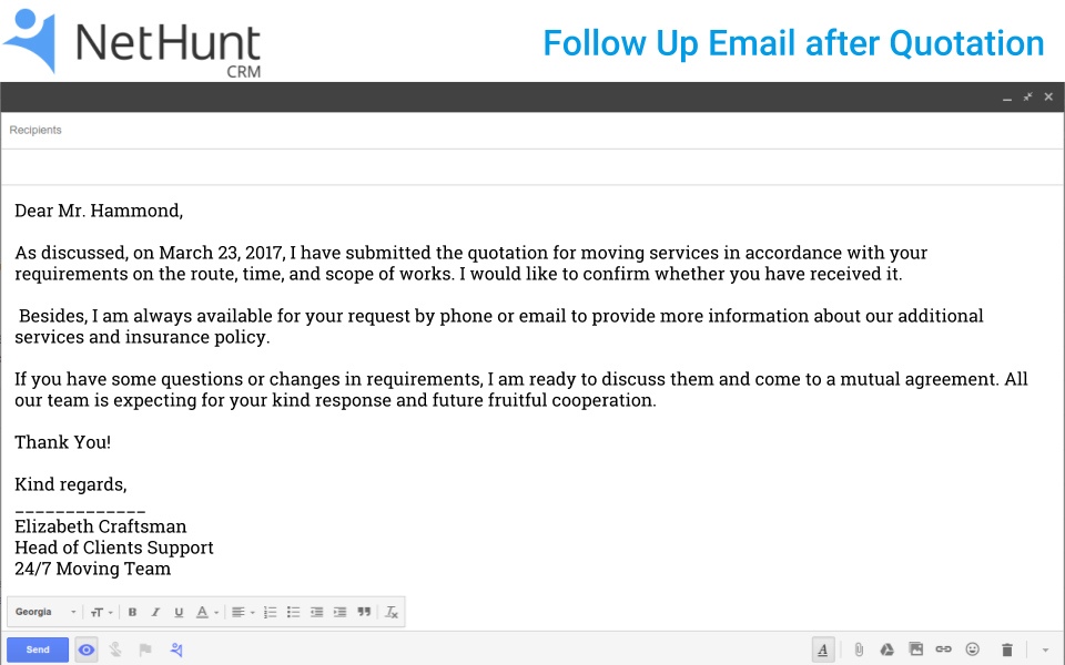 How to Write a Follow Up Email to Client after Quotation | NetHunt CRM