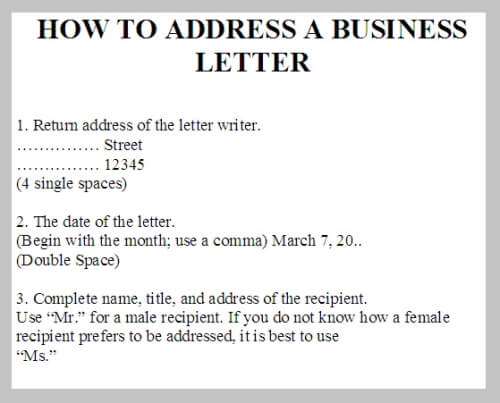 How To Address A Letter To A Business Address A Business Letter