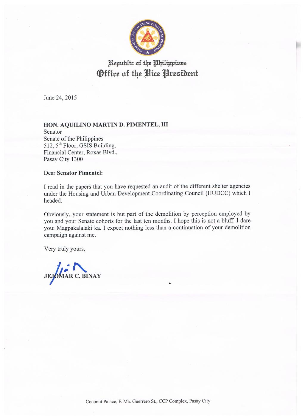 LOOK: VP Binay's letter to Sen. Koko Pimentel taunting