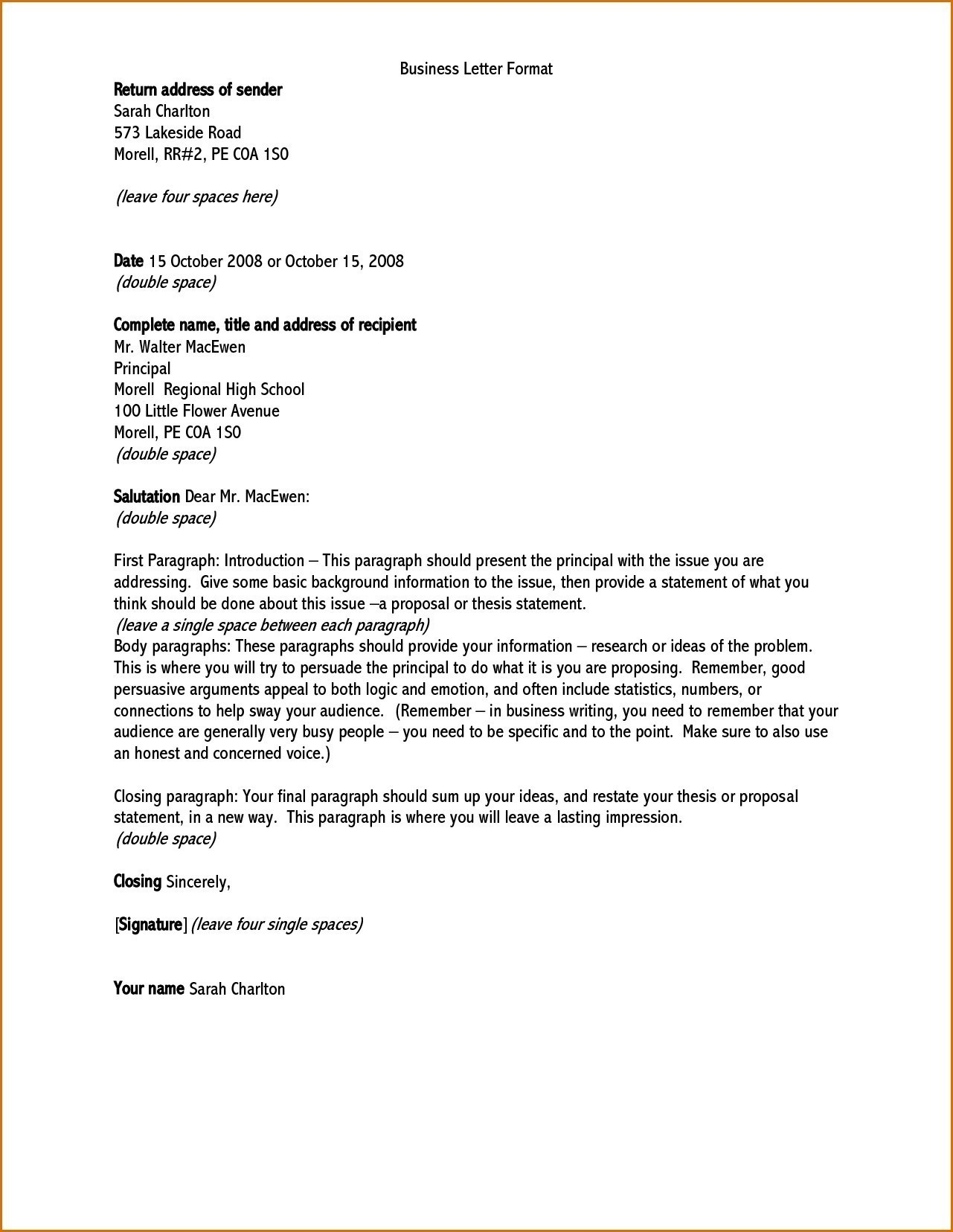 Official Letter Format To Principal New Formal Letter Format New