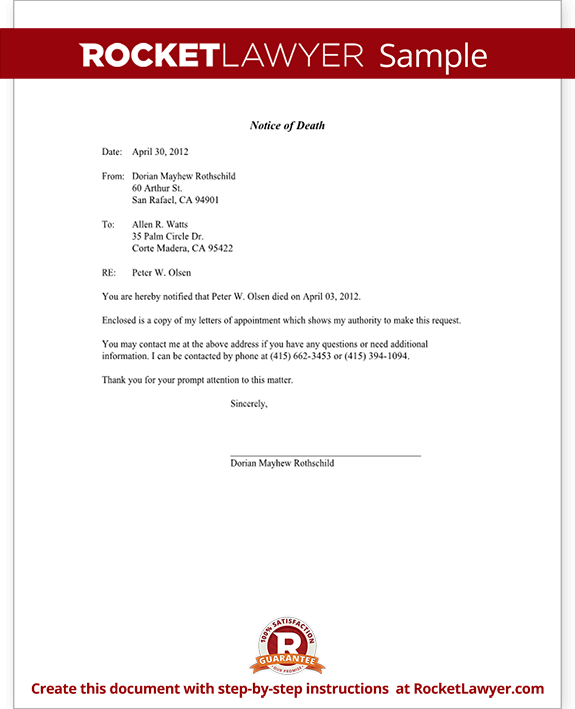 Best Photos of Template Letter Notice Of Death Meeting Notice