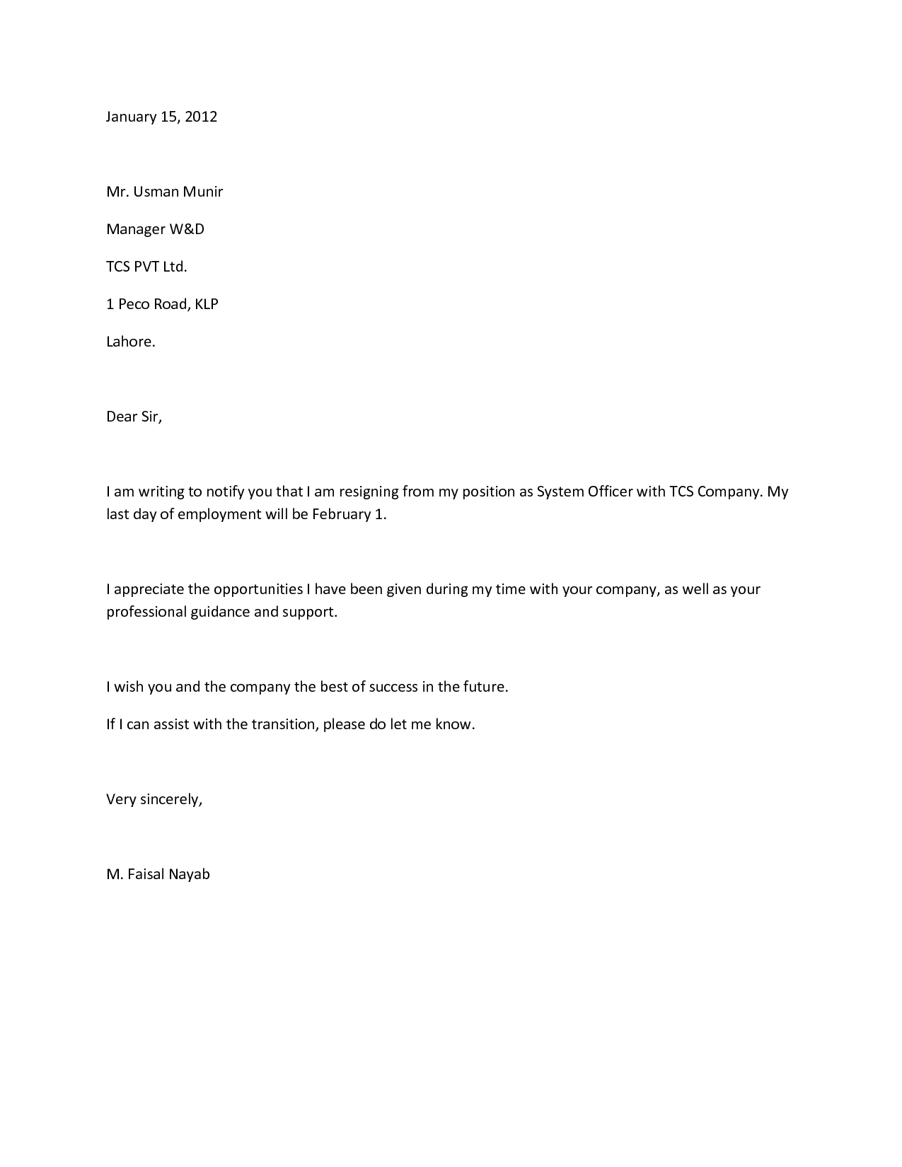 writing a letter of resignation sample
