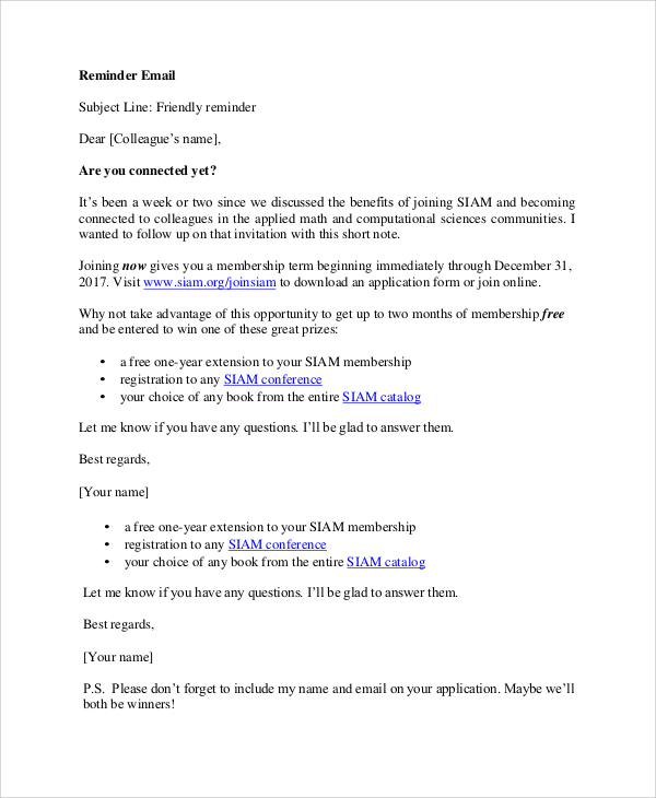 8+ Reminder Email Examples & Samples PDF, DOC