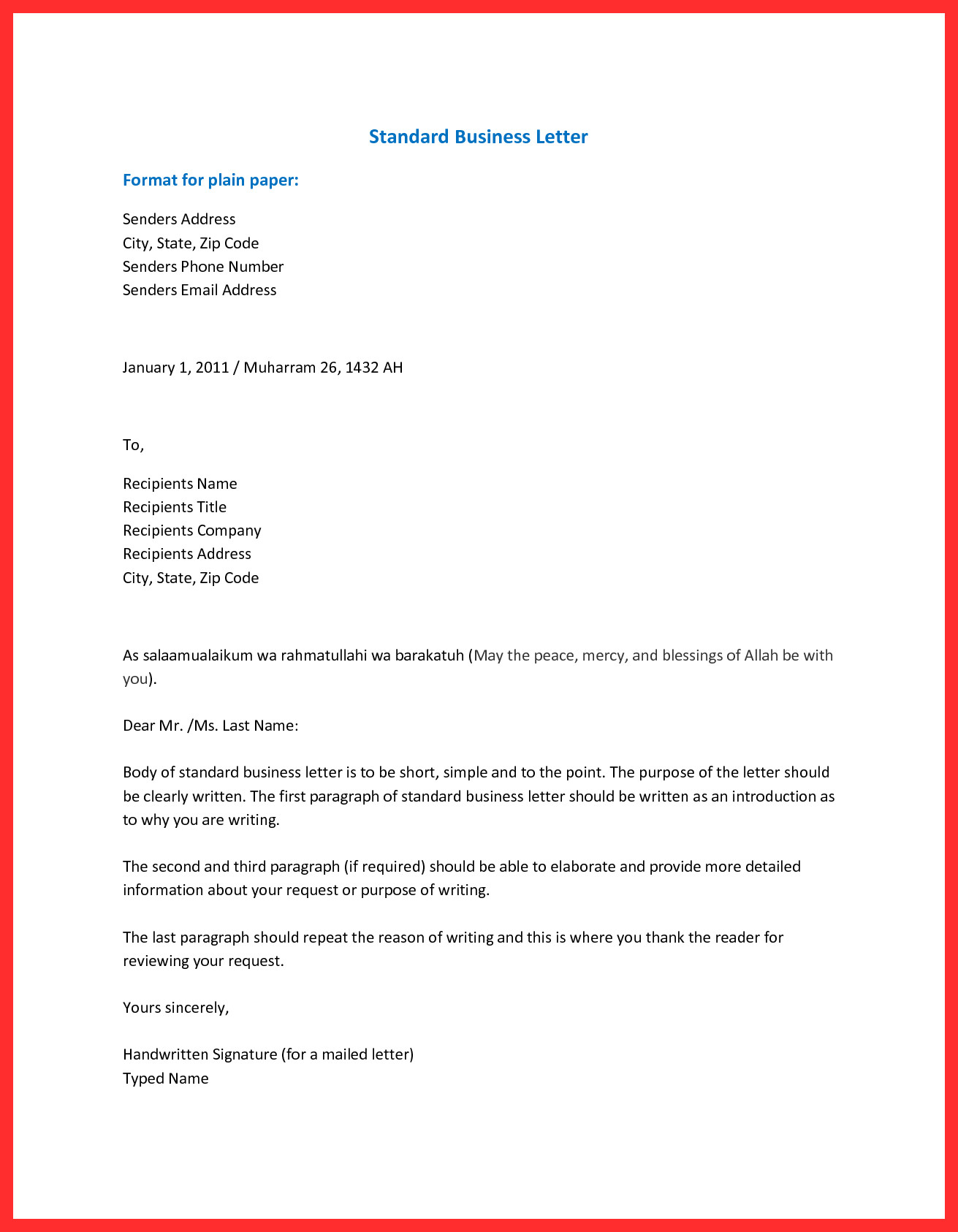 Business letter set up how end a the best sample for writing