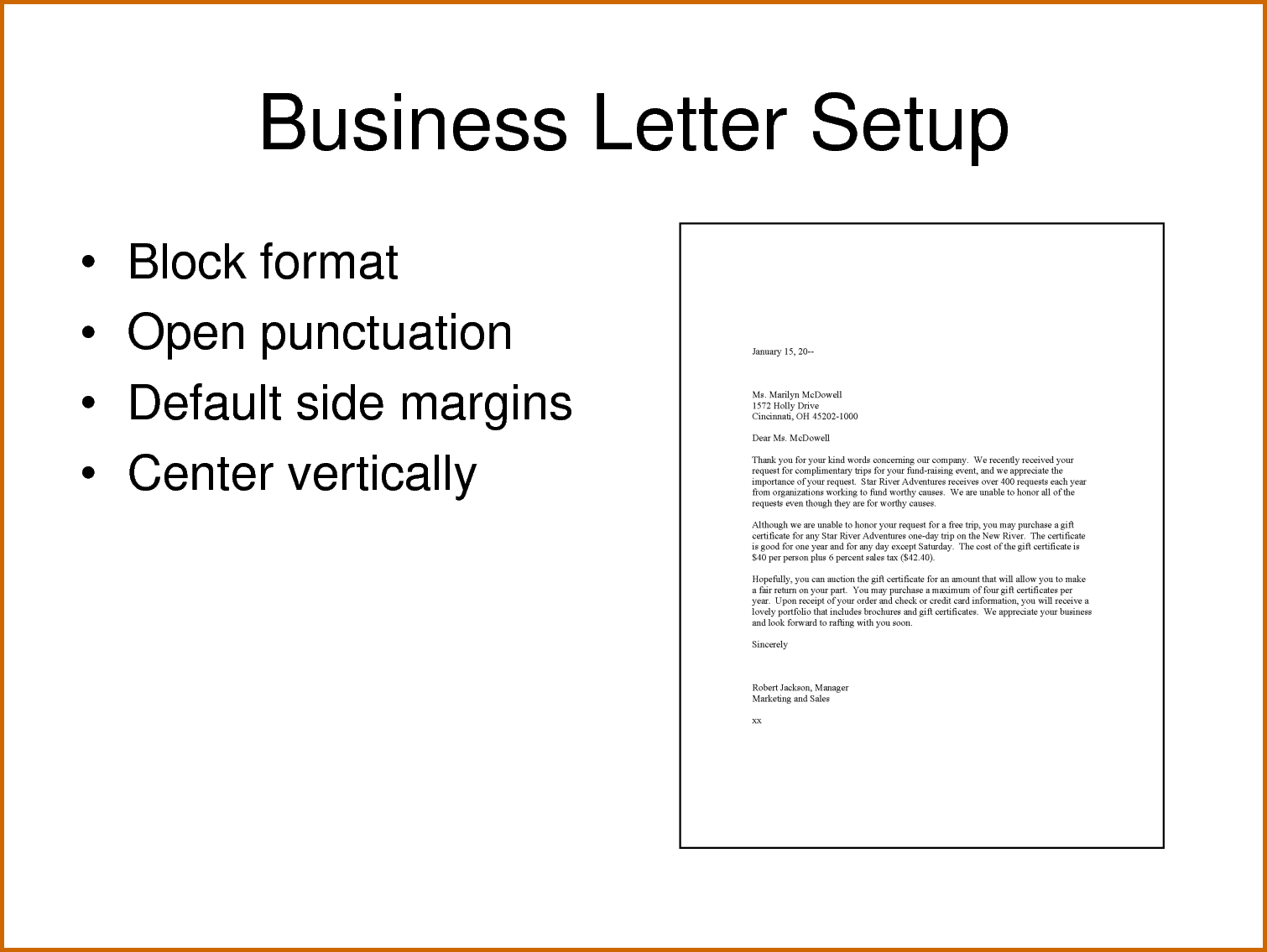 how set business letter the sample format example letterhead