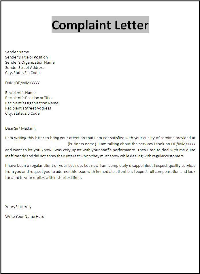 how to write a business complaint letter