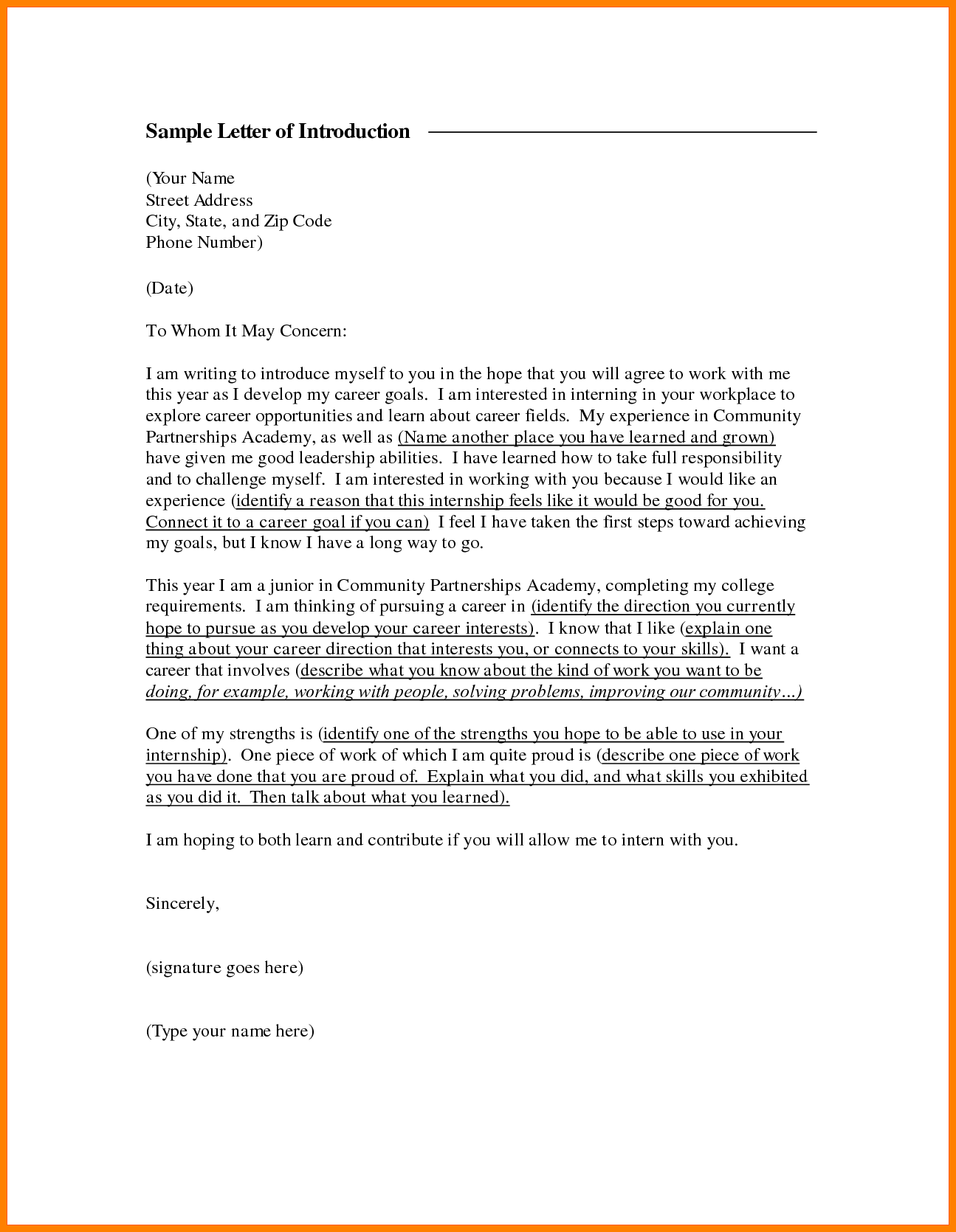 How To Write A Letter Of Introduction For Employment Gallery