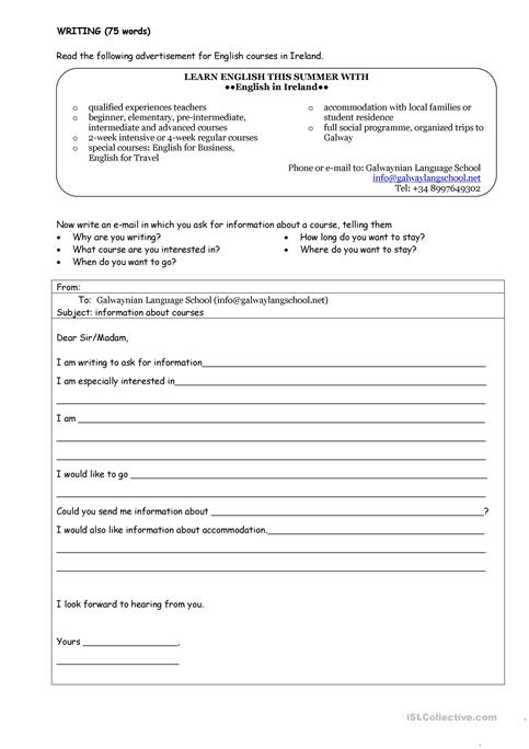 Asking for information email worksheet Free ESL printable