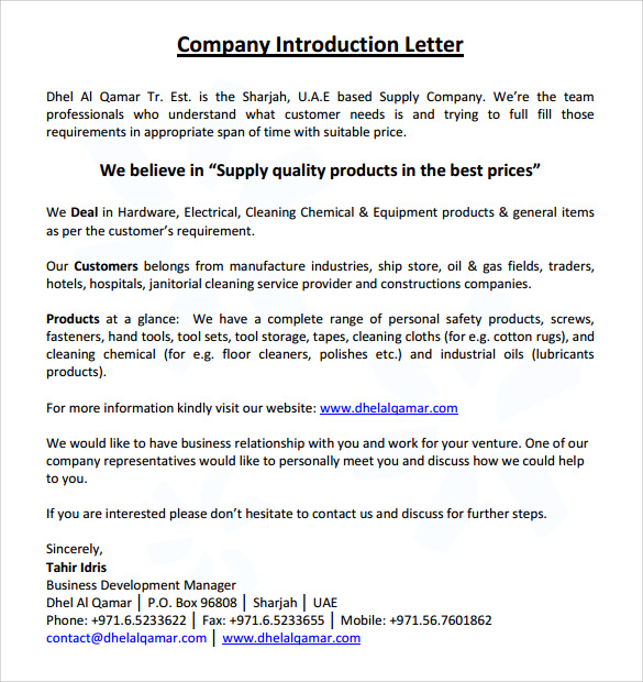 introductory business letters samples