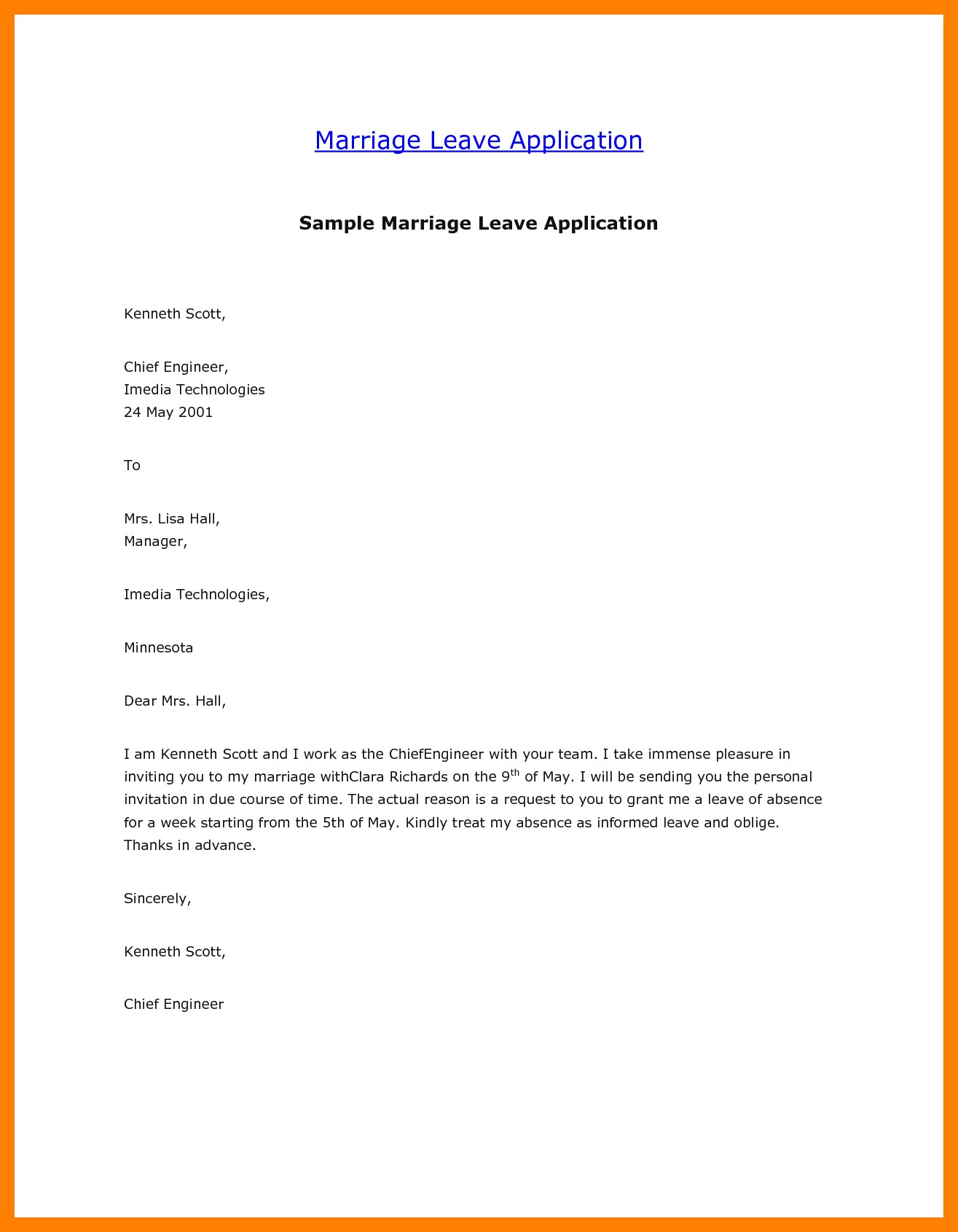 Leave Letter Format Mail New Application For Leave To Manager