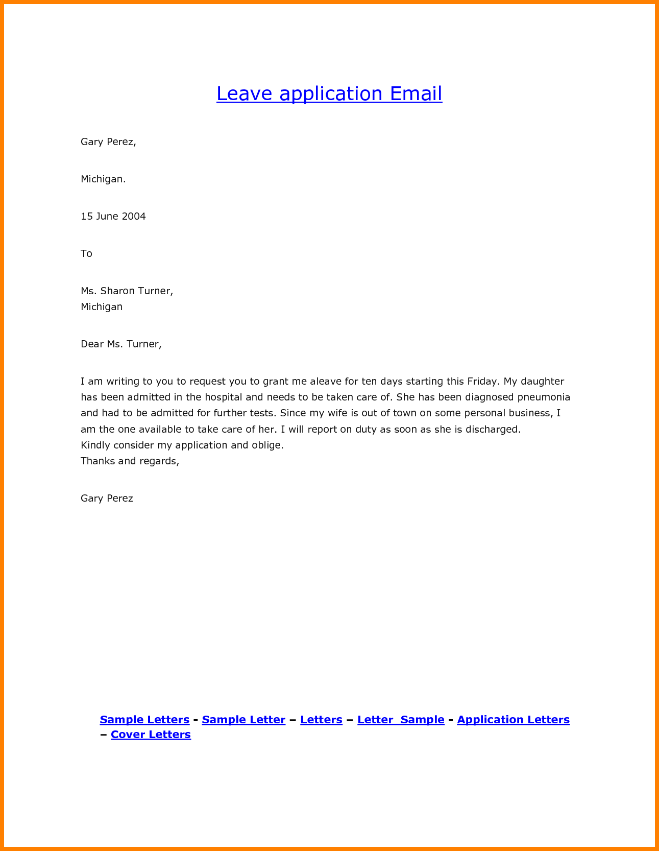 Leave Request Email / Letter