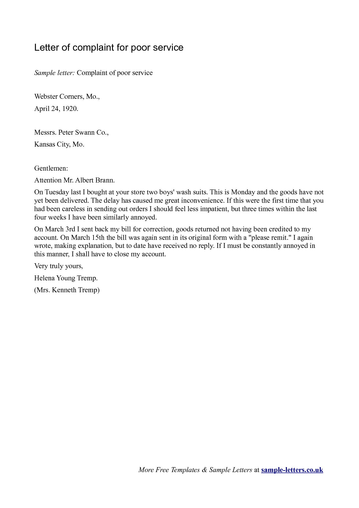 Sample Letter Of Complaint For Poor Service Archives Corrochio