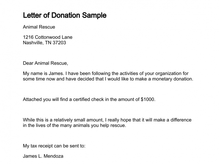 Letter of Donation