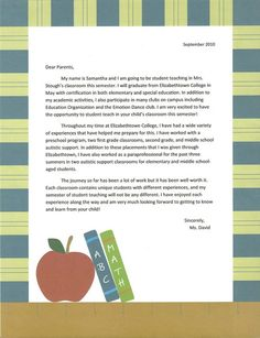 Introduction Letter to Parents from a New Teacher | Pinterest