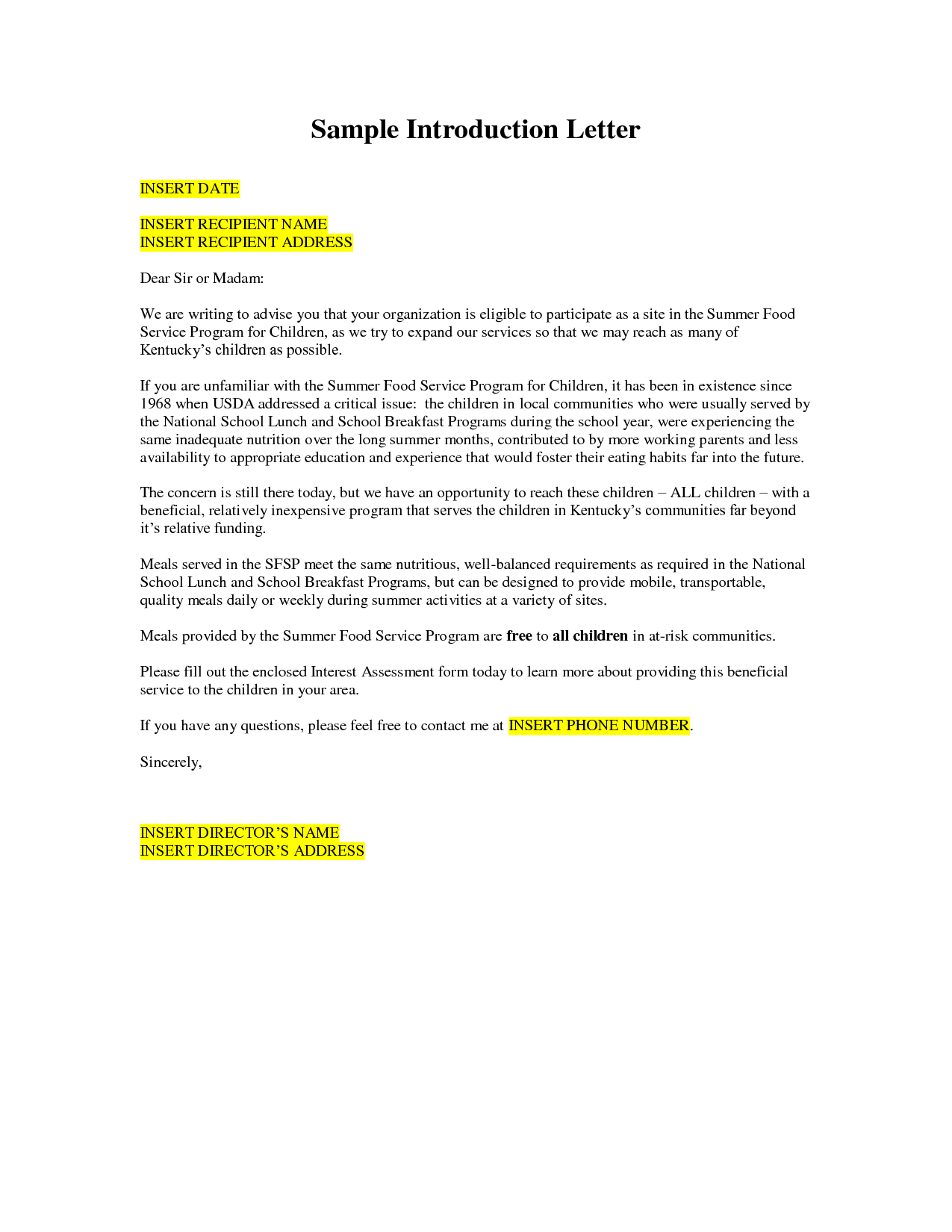 How To Write A Business Introduction Letter Example Gallery