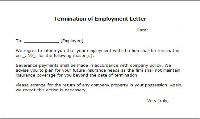 letter of termination sample for employee boatjeremyeatonco