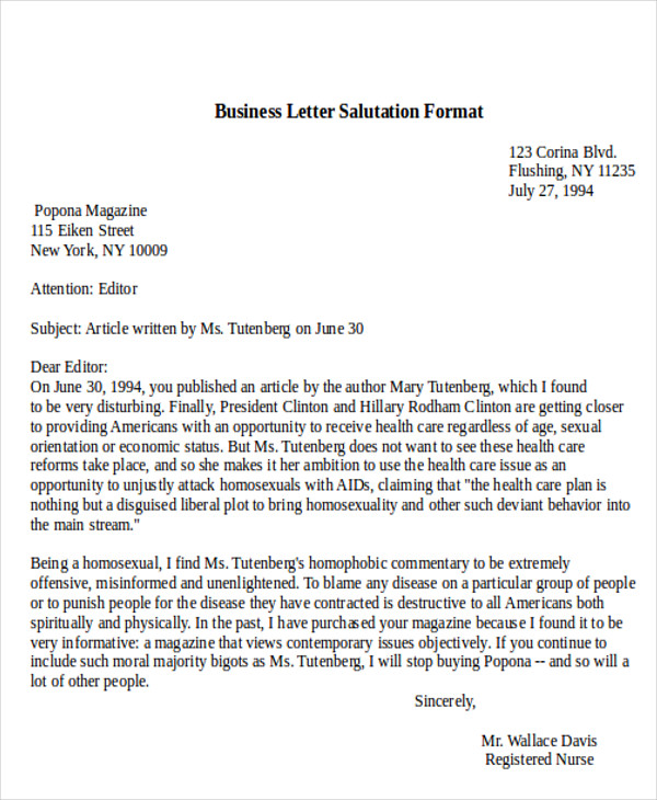 Business Letter Salutation Example Business Letter Salutation