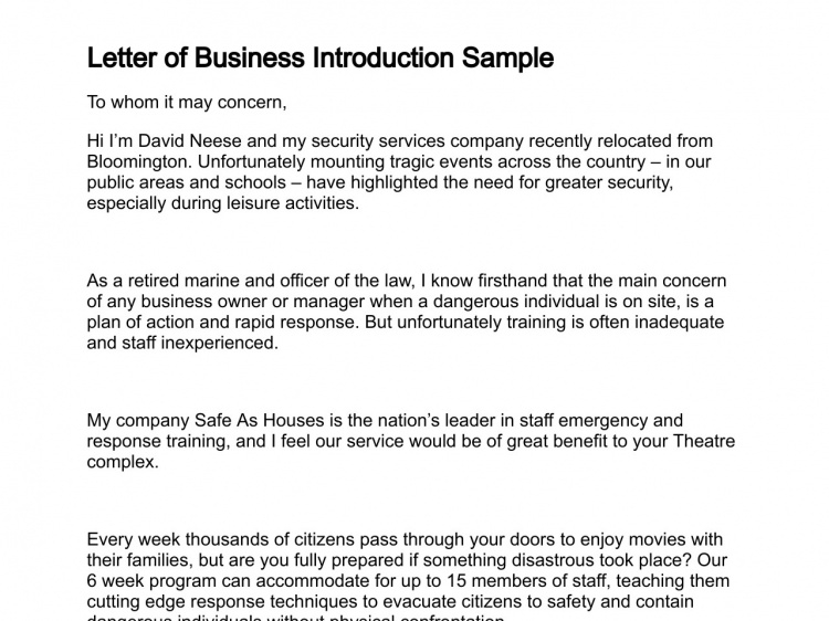Letter Of Business Introduction Throughout Business Presentation
