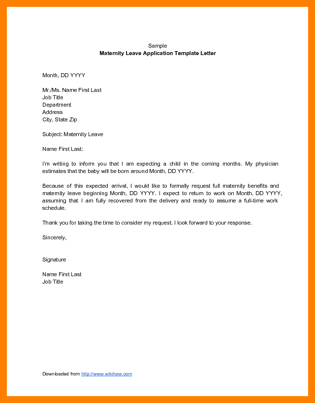 Maternity leave application letter ideal print for teachers