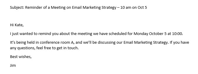 Friendly reminder email sample meeting template functional