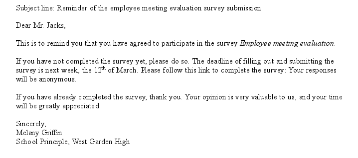 Free Survey Reminder Email Letter Template Sample