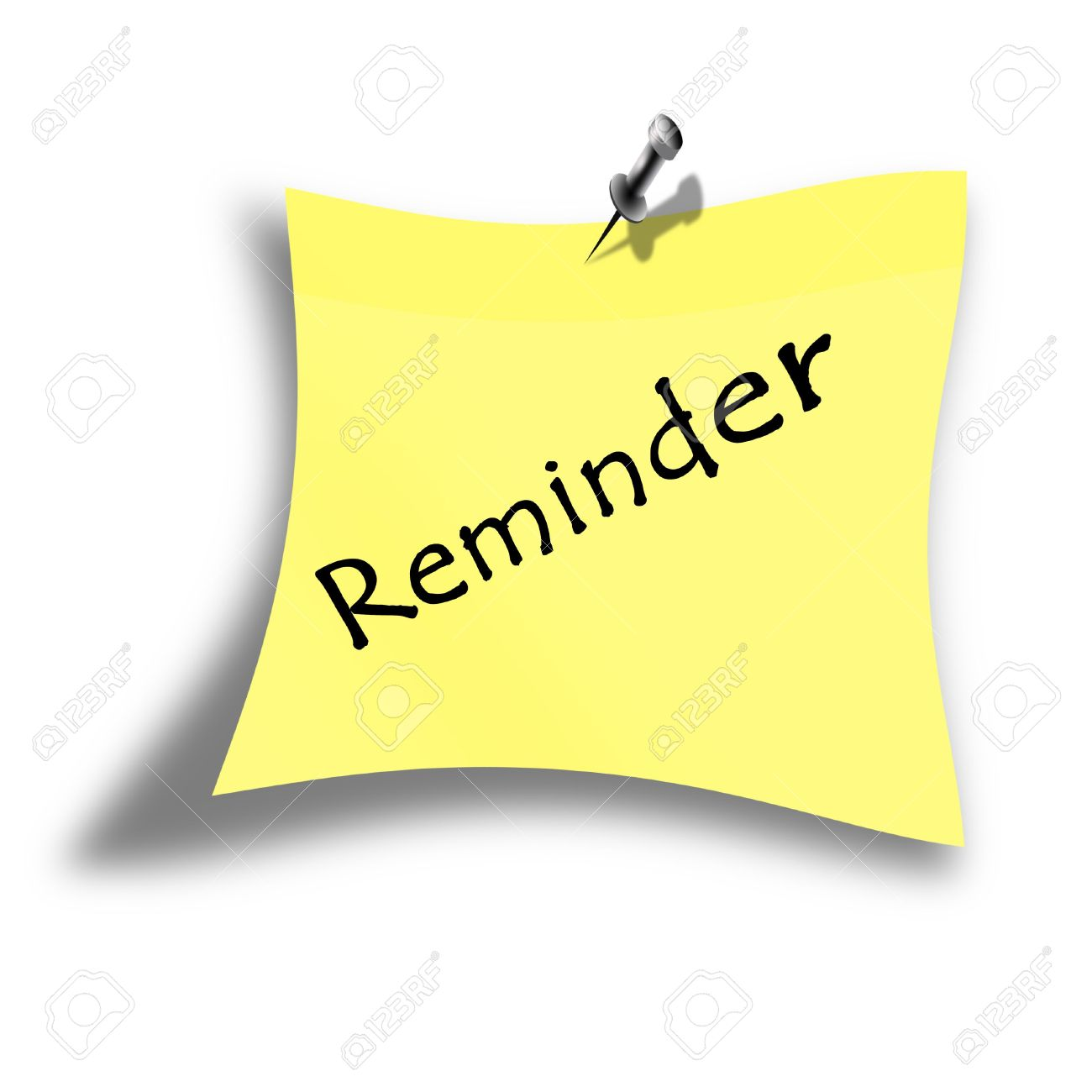 Yellow Reminder Memo On A White Background Stock Photo, Picture