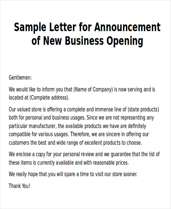 26 Images Of New Business Letter Template Infovia New Company