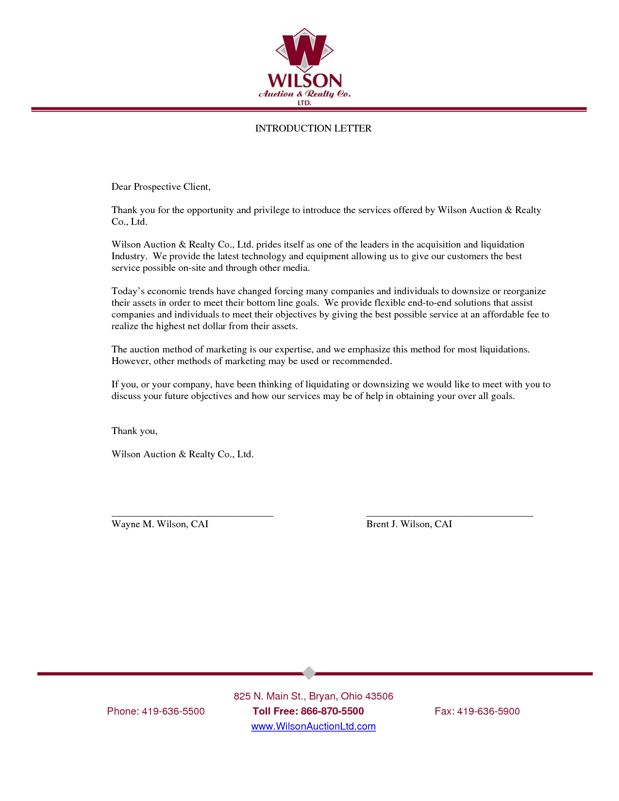 introduction letter to client for services