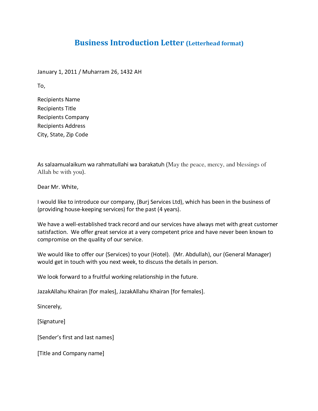 business introductory letter template elrey de bodas