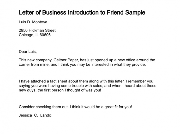 Presentation letters for business letter of introduction friend