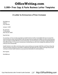 Send this letter to a client, informing him/her of a price