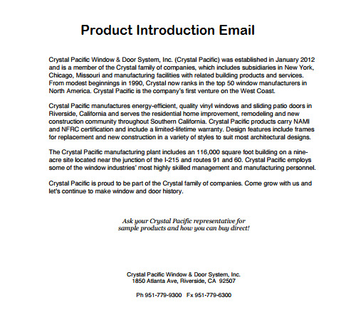 Product Introduction Letters Scrumps