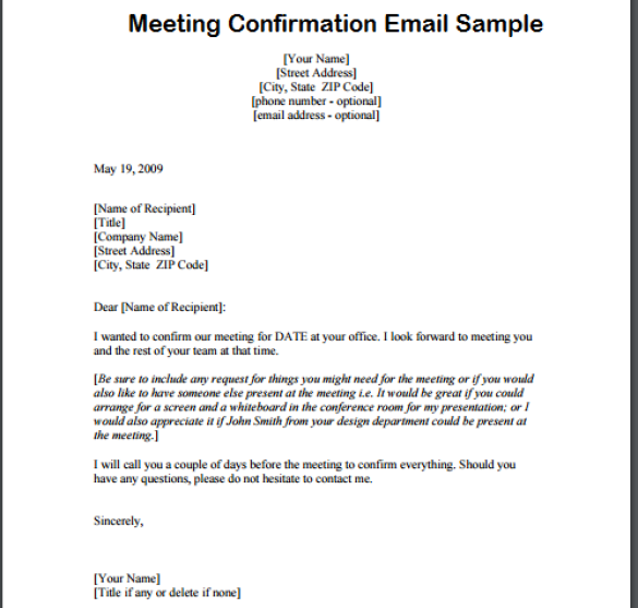 Awesome Confirmation Email for Meeting | three blocks