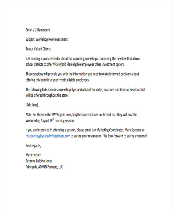 Email Contract Template With 3 Payment Reminder Email Template