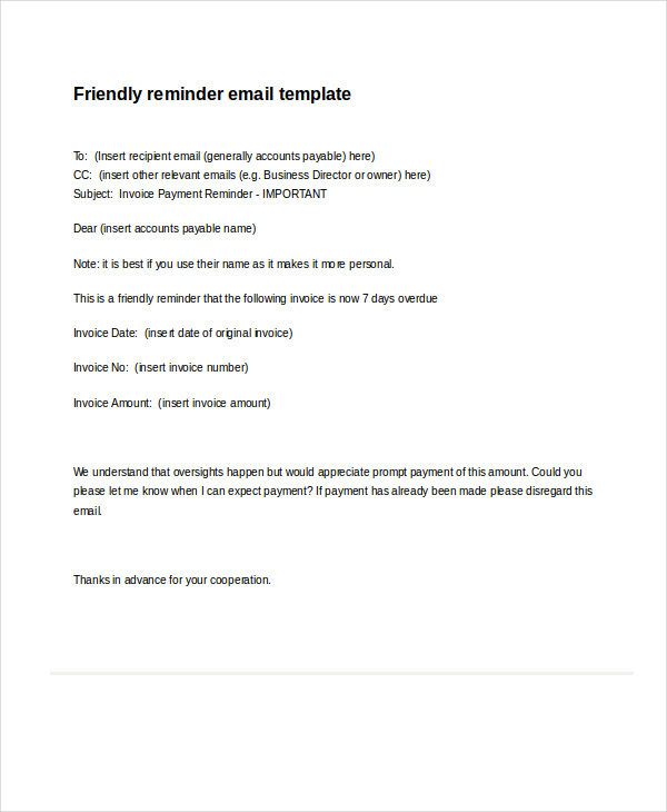 Professional email samples gentle reminder example enchanting