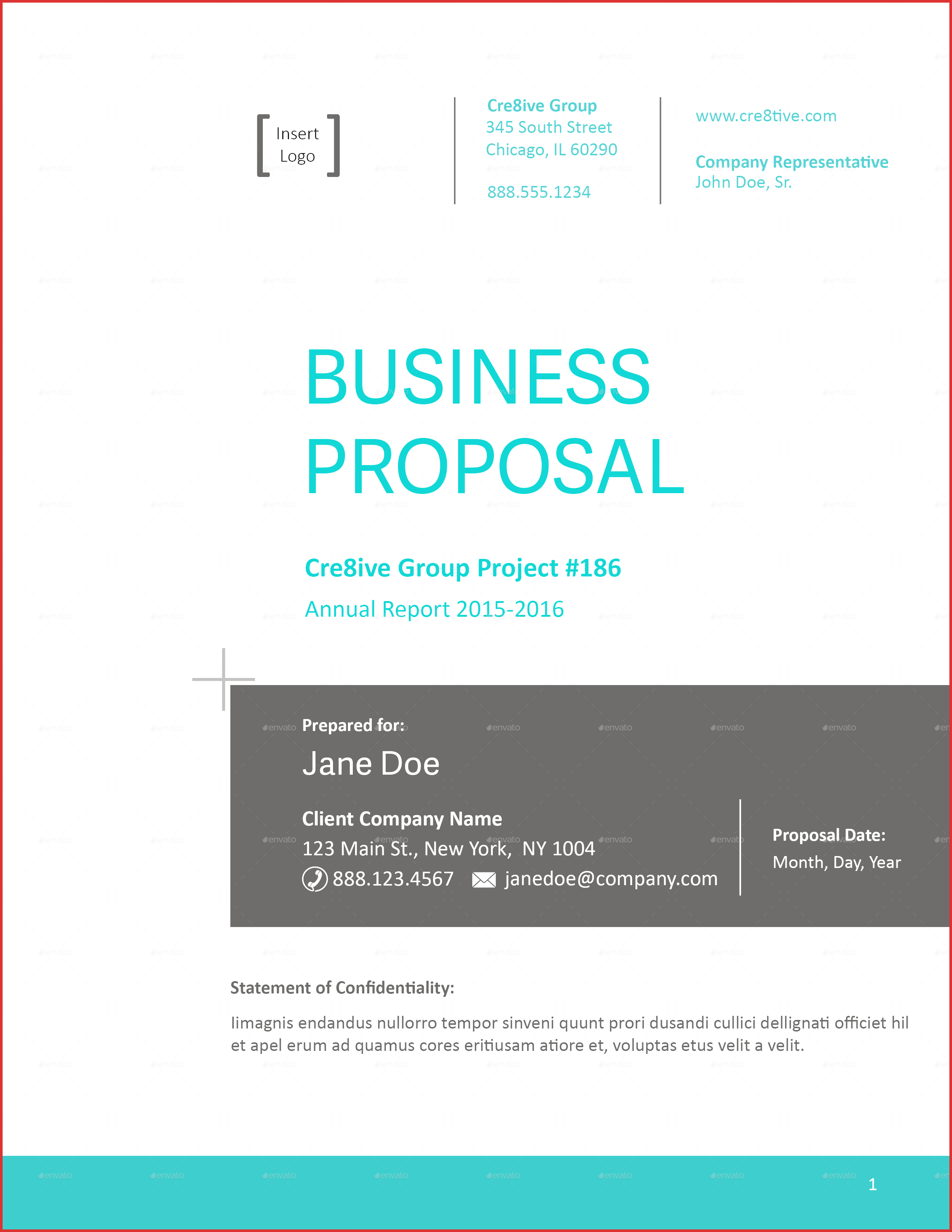Business Proposal Cover Sheet Letter Training Workbook Template