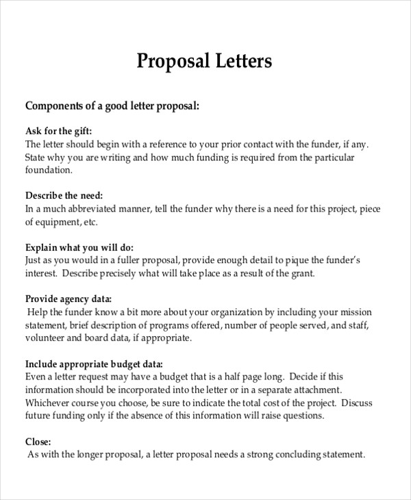 8 Sample Formal Proposal Letters | Sample Templates