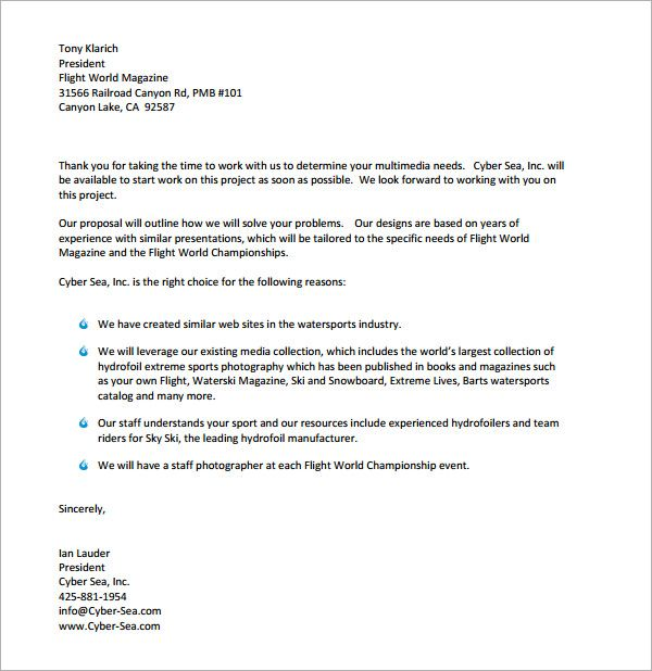 business proposal letter sample pdf | Useful document samples