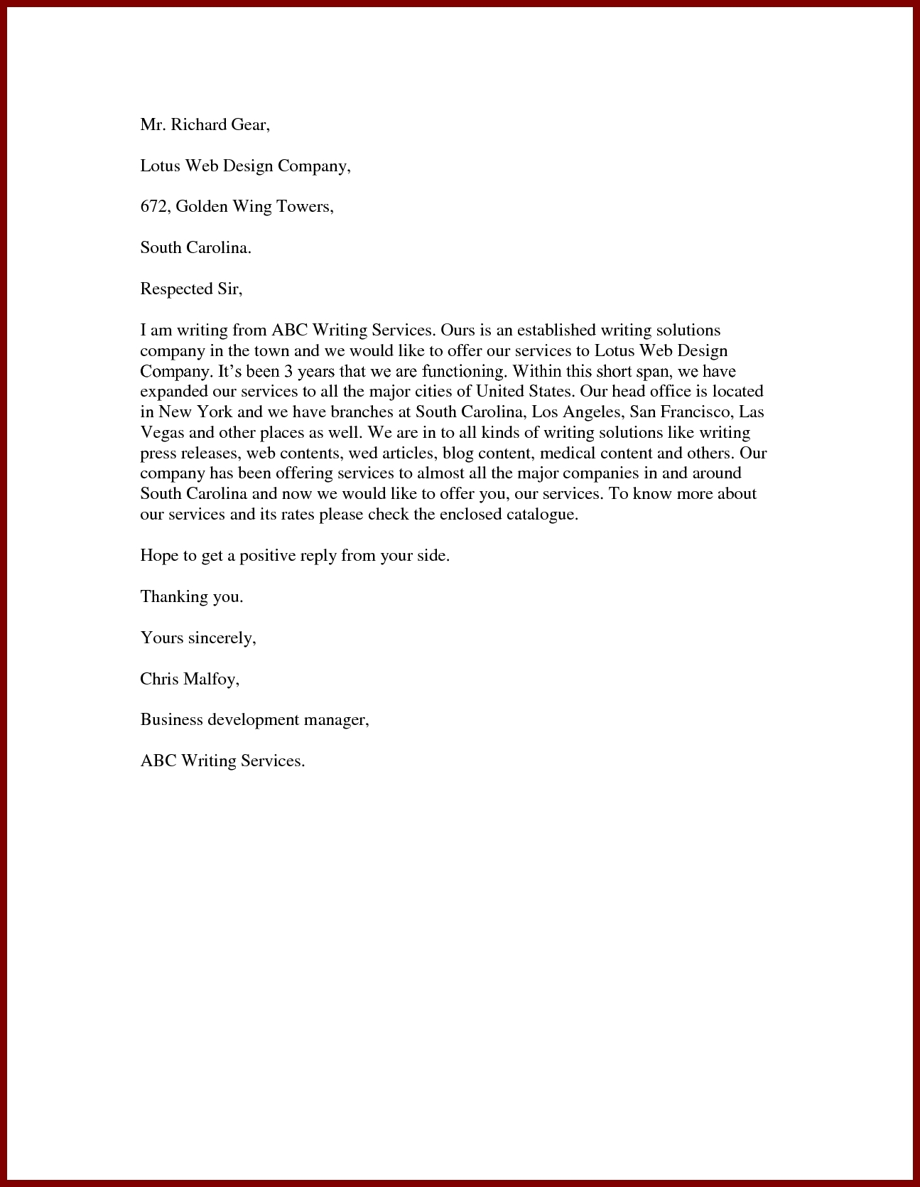 Sample Proposal Letter To Offer Services Best Template Design