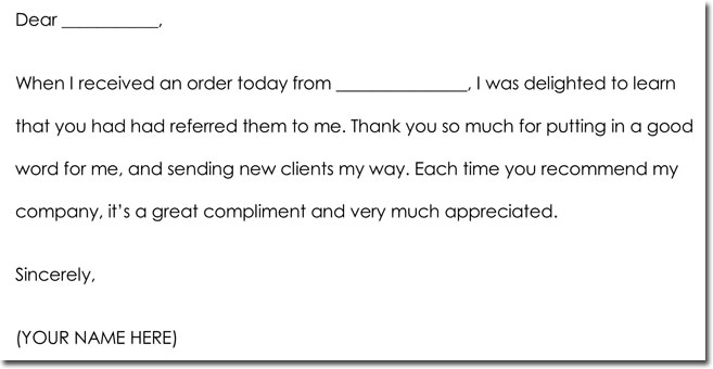 Business referral thank you letters letter wording standart