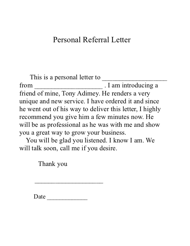 Referral letter