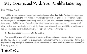 Remind App Parent Letter Editable by TeachingLikeABoss1 | TpT
