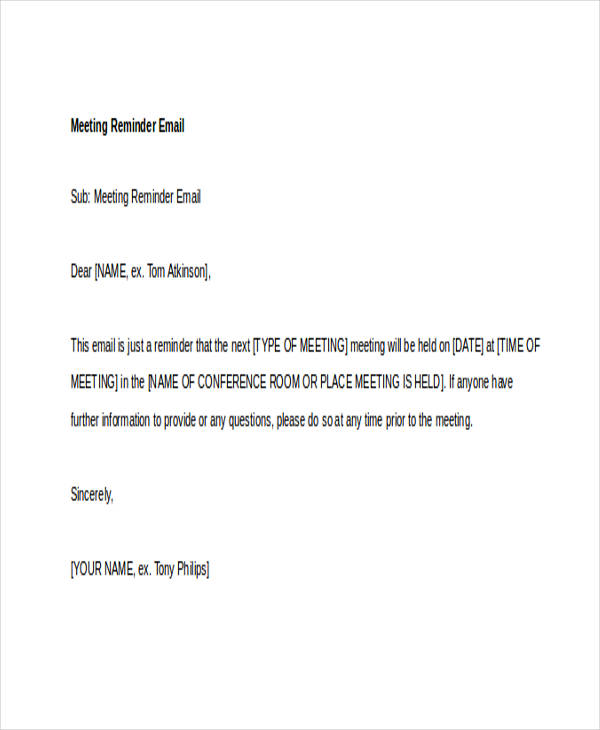 7+ Sample Reminder Emails – PDF | Sample Templates