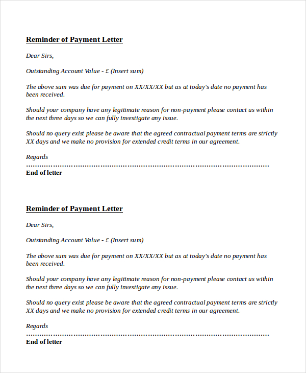 payment notification letter template payment reminder letter