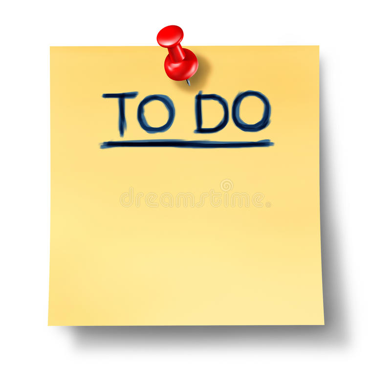 To Do List Office Note Reminder Attention Paper Stock Illustration