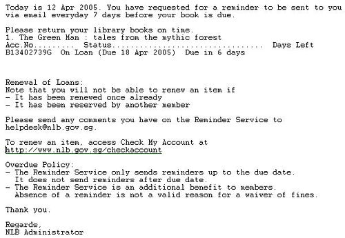 NLB Email Reminder Notice | Screen shot of NLB email reminde… | Flickr